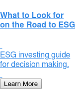 What to Look for on the Road to ESG     ESG investing guide for decision making.    Learn More