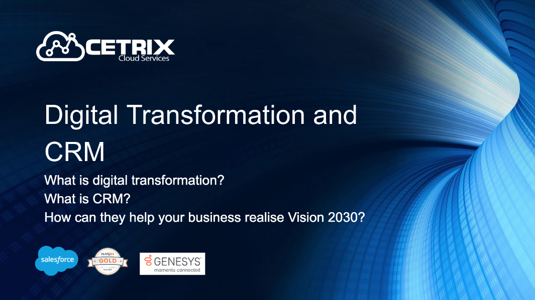 Slide promoting webinar about digital transformation and crm