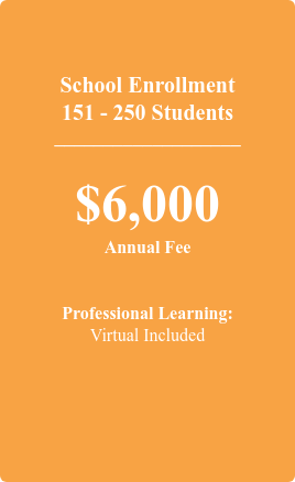 School Enrollment 151 - 250 Students  ___________________  $6,000 Annual Fee   Professional Learning: 1 Offering Included