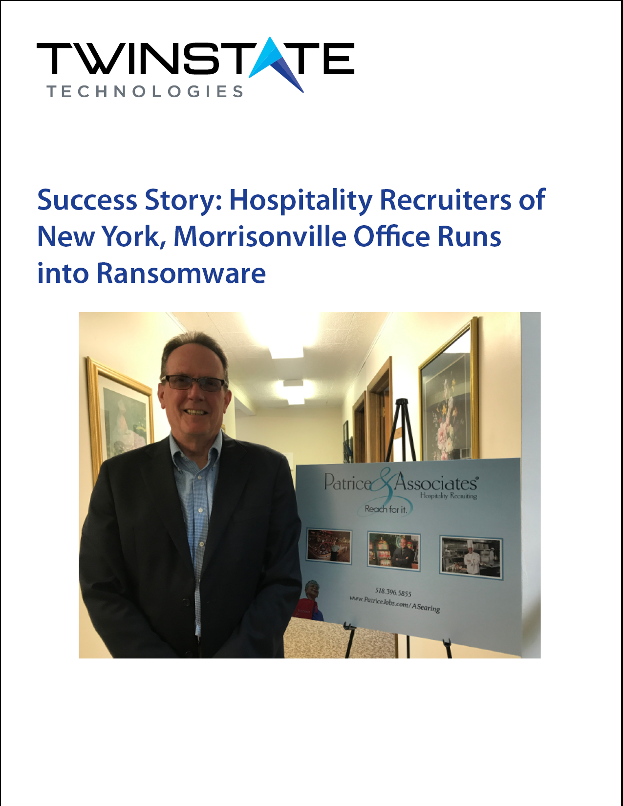 Case Study: Tony Searing, Morrisonville, New York, Hospitality Recruiters of New York