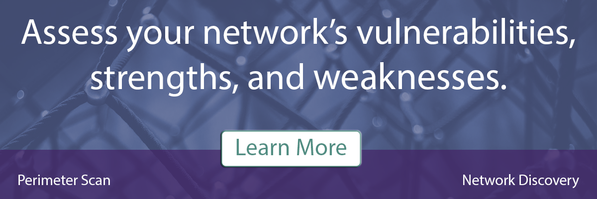 Assess your network's vulnerabilities, strengths, and weaknesses with a network discovery or perimeter scan, schedule a meeting to learn more