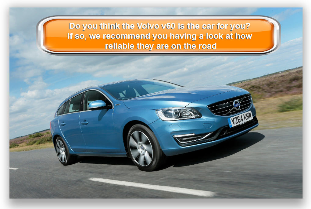 Volvo v60 estate in blue driving