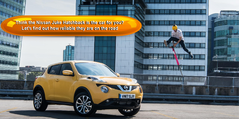 a bright yellow nissan juke hatchback parked on a roof with high rise buildings in the background with the title think the nissan juke hatchback is the car for you? Lets find out how reliable they are on the road