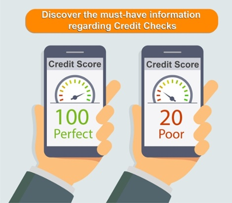 Graphic of two hands holding phones displaying their credit scores