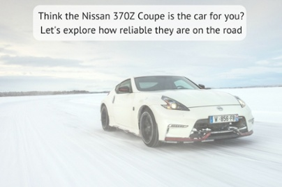 edited picture of a Nissan 370Z coupe driving on snow with clouds in the background with the title think the nissan 370z coupe is the car for you? lets explore how reliable they are on the road