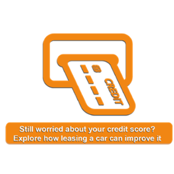 orange illustration of a credit card going into the machine with the title still worried about your credit score? Explore how leasing a car can improve it