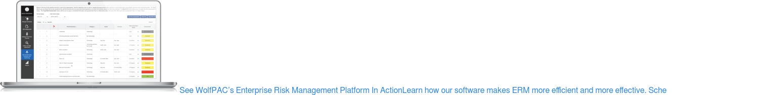 See WolfPAC's Enterprise Risk Management Platform In ActionLearn how our  software makes ERM more efficient and more effective. Schedule My Customized  Demo