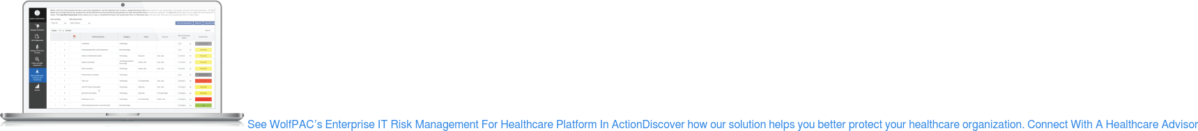 See WolfPAC's Enterprise IT Risk Management For Healthcare Platform In Action Discover how our solution helps you better protect your healthcare organization. Connect With A Healthcare Advisor