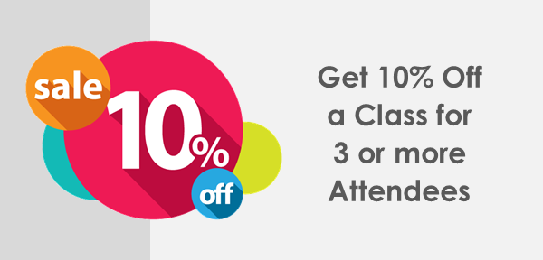 10 percent discount on training for 3 or more attendees