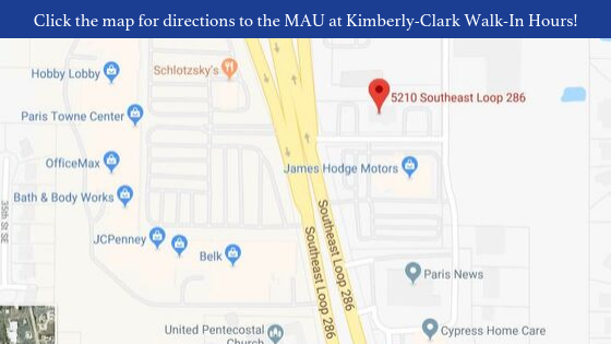 Directions to the MAU at Kimberly-Clark Walk-In Hours