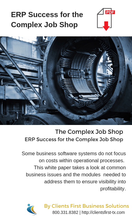 Whitepaper Download ERP Success for the Complex Job Shop