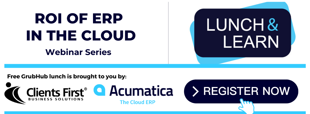 Register for our Webinar Lunch and Learn ROI of Cloud ERP