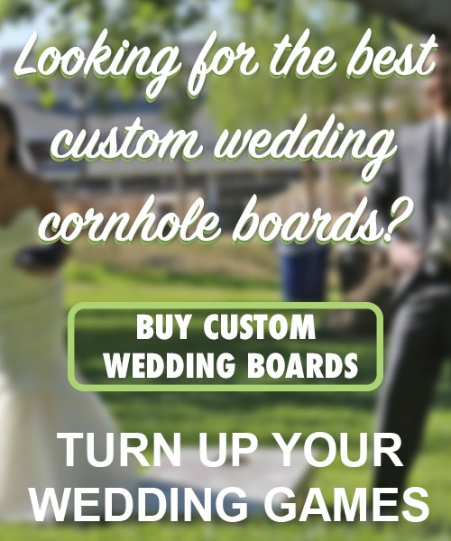 Slick Woody's Cornhole Company custom wedding boards (mobile CTA)