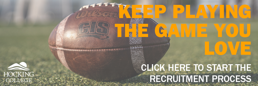 football sitting on grass field text that reads keep playing the game you love click here to start the recruitment process