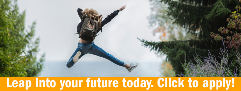 """Blonde woman jumping into air. Text that reads """"Leap into your future. Click to apply!"""""""
