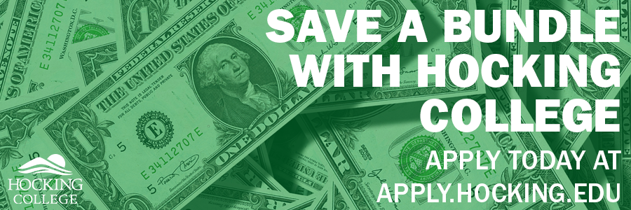 Money with text that reads Save a Bundle with Hocking College Apply Today at apply.hocking.edu
