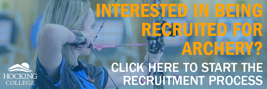 female archer taking aim with text that reada interested in being recruited for archery? click here to start the recruitment process