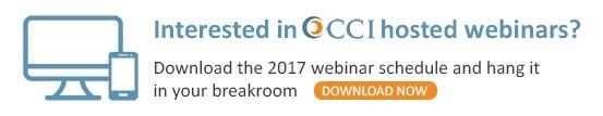 Download CCI's 2017 webinar schedule and hang it in your breakroom
