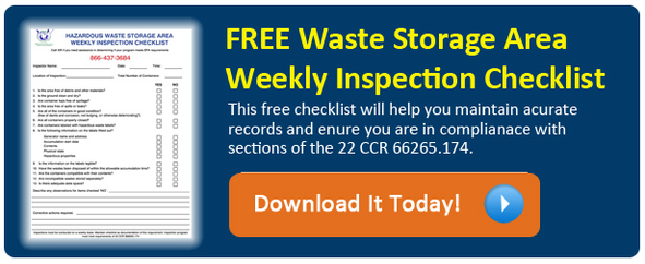 Hazardous Waste Weekly Checklist