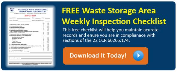Hazardous Waste Weekly Checklist