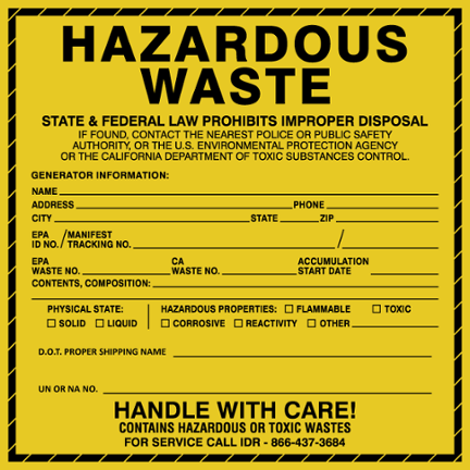 Hazarodus Waste Label
