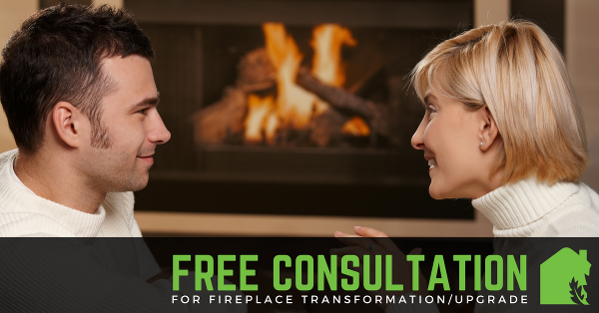 couple in front of a gas fireplace