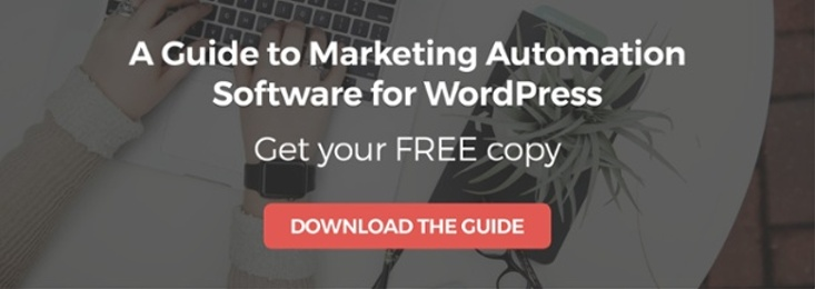 Call to action offering a free copy of our guide to marketing automation software for WordPress