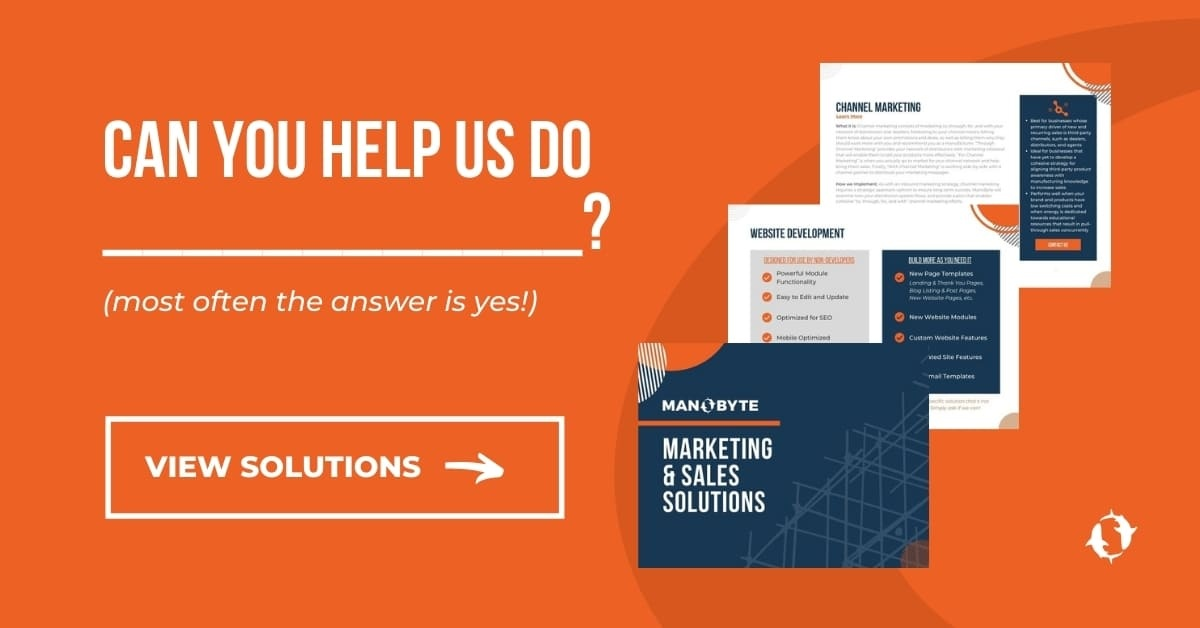 Can you help us do [blank]? (most often the answer is yes!) View solutions.