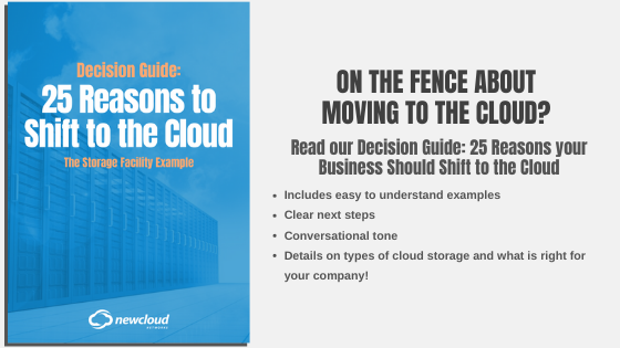Download this free decision guide that gives you 25 reasons to shift to the cloud, using a storyline like example of a storage facility. Download the free ebook now!