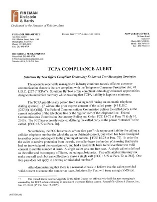 Read this TCPA Compliance Alert - Text Messaging & Debt Recovery
