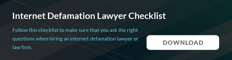 Internet Defamation Lawyer checklist
