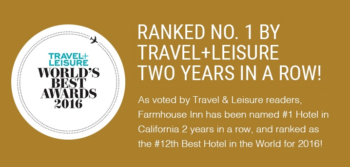 farmhouse inn has been ranked #1 by travel+leisure two years in a row