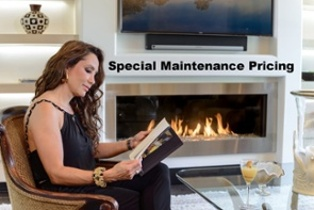 Gas Fireplace and Woman Reading