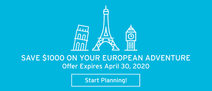 Save $1000 when you book your European student class trip