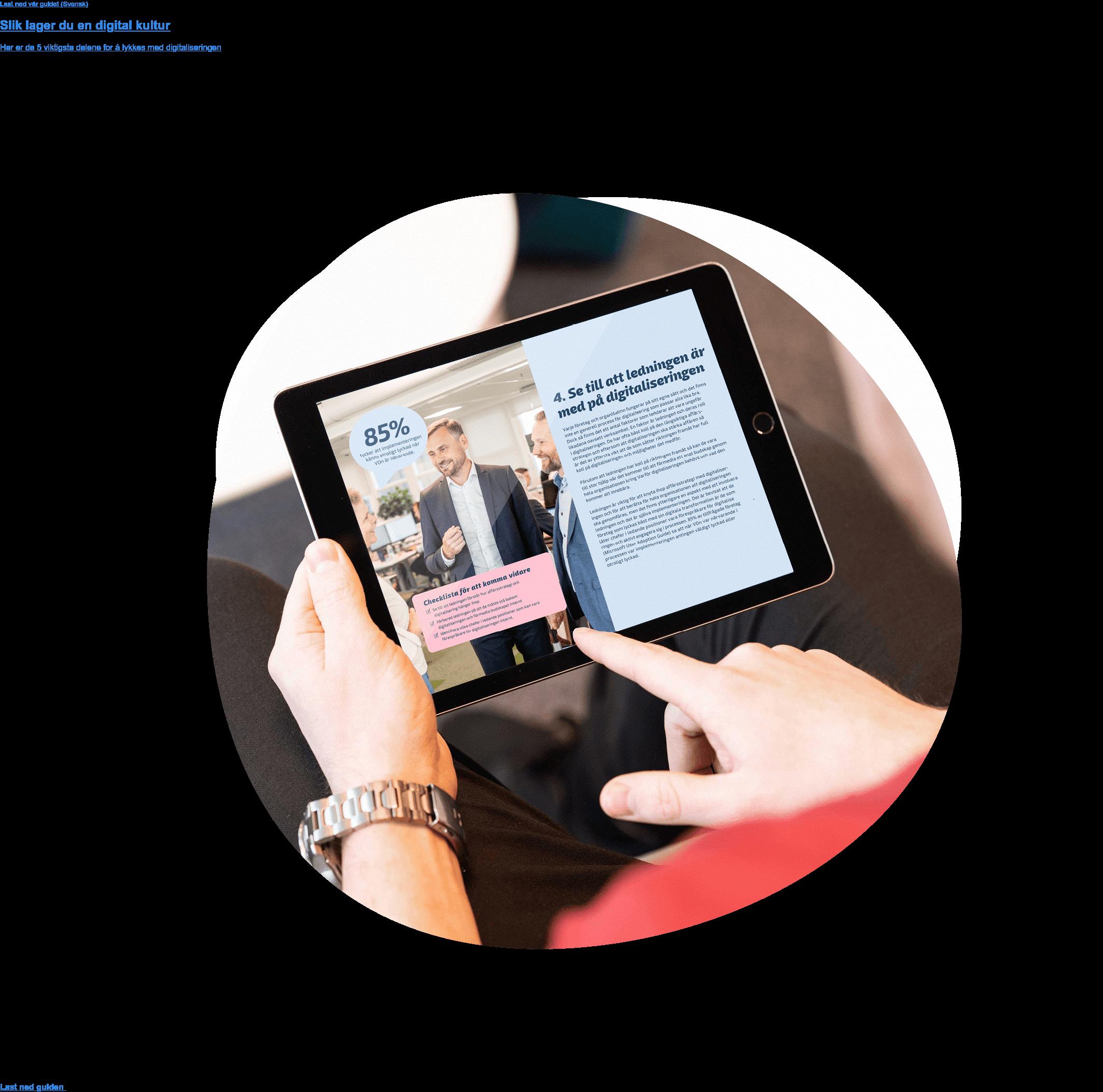 Last ned vår guide!  Slik lager du en digital kultur  Her er de 5 viktigste delene for å lykkes med digitaliseringen Last ned guiden