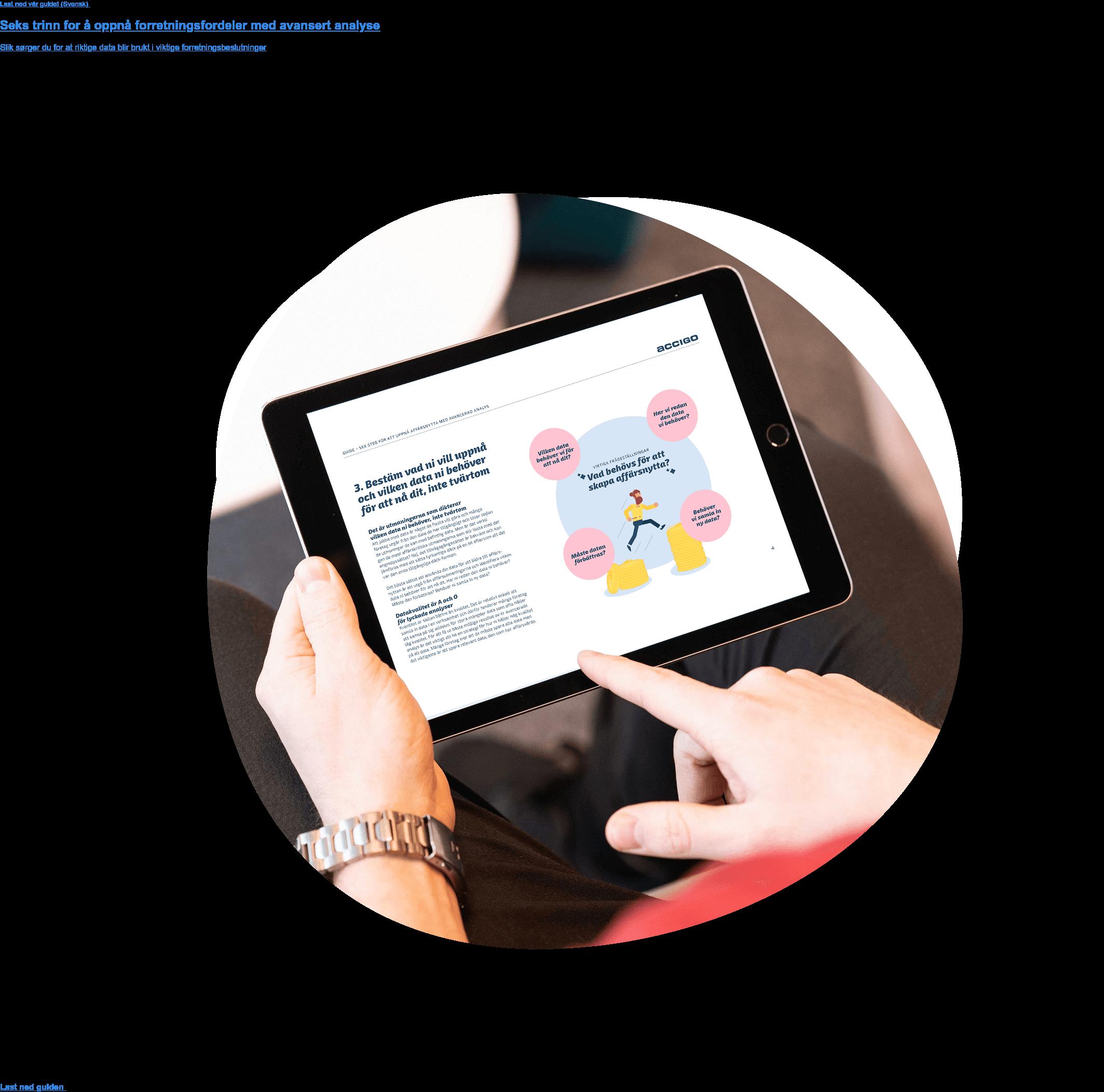 Last ned vår guide!  Seks trinn for å oppnå forretningsfordeler med avansert analyse  Slik sørger du for at riktige data blir brukt i viktige forretningsbeslutninger Last ned guiden