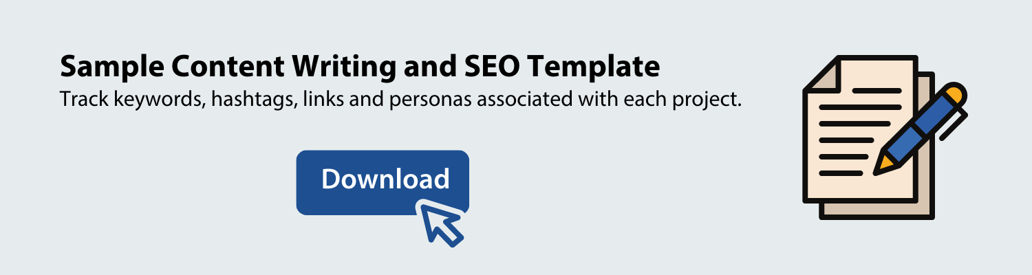 download a content writing and SEO template