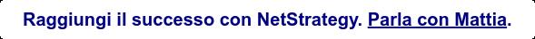 Raggiungi il successo con NetStrategy. Parla con Mattia.