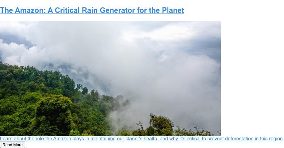 The Amazon: A Critical Rain Generator for the Planet  Learn about the role the Amazon plays in maintaining our planet's health, and  why it's critical to prevent deforestation in this region.  Read More