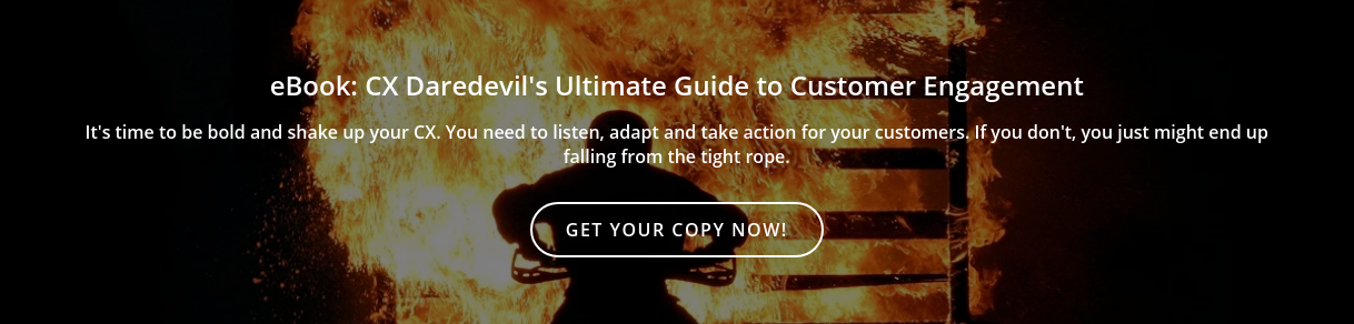 eBook: CX Daredevil's Ultimate Guide to Customer Engagement  It's time to be bold and shake up your CX. You need to listen, adapt and take  action for your customers. If you don't, you just might end up falling from the  tight rope. Get your copy now!