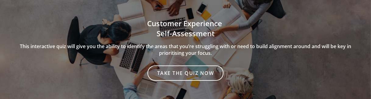Customer Experience  Self-Assessment  This interactive quiz will give you the ability to identify the areas that  you're struggling with or need to build alignment around and will be key in  prioritising your focus. Take the quiz now