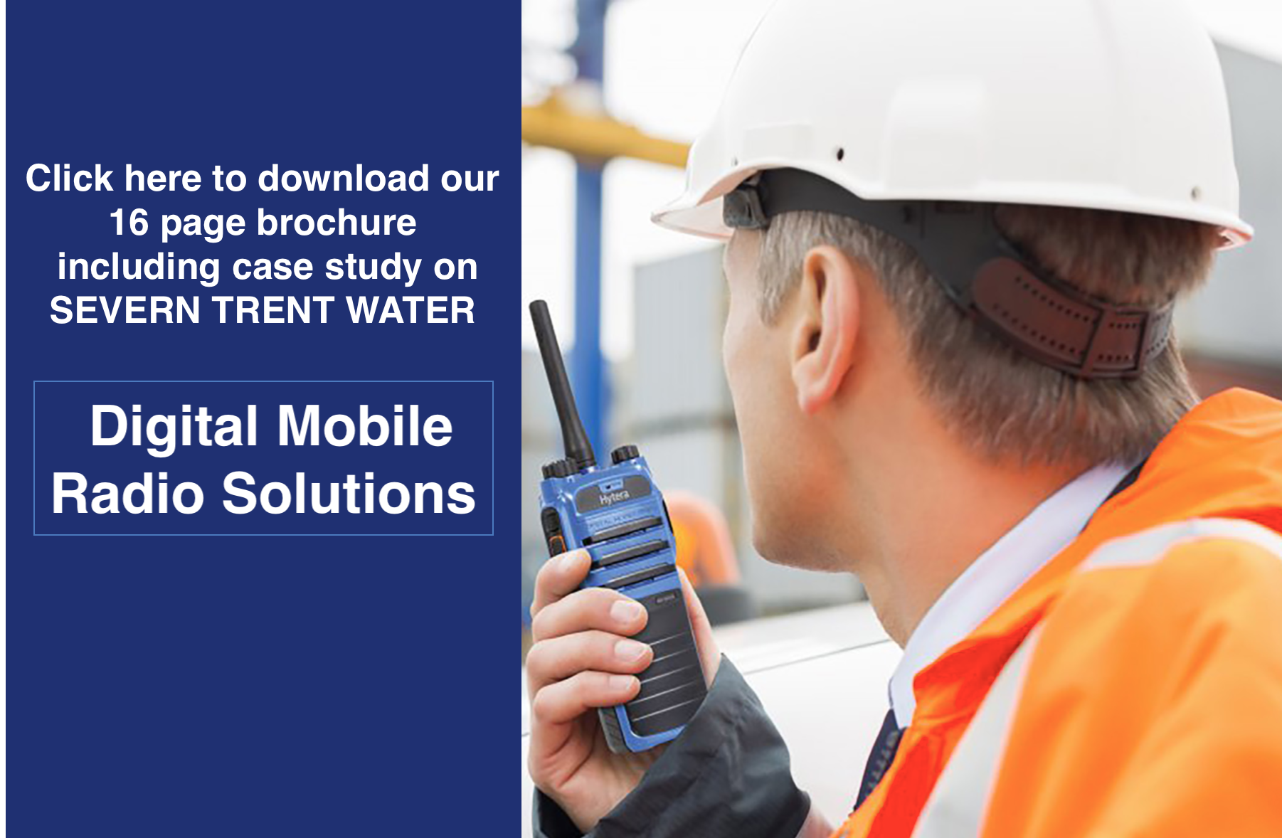 download call to action for digital mobile radio solutions brochure