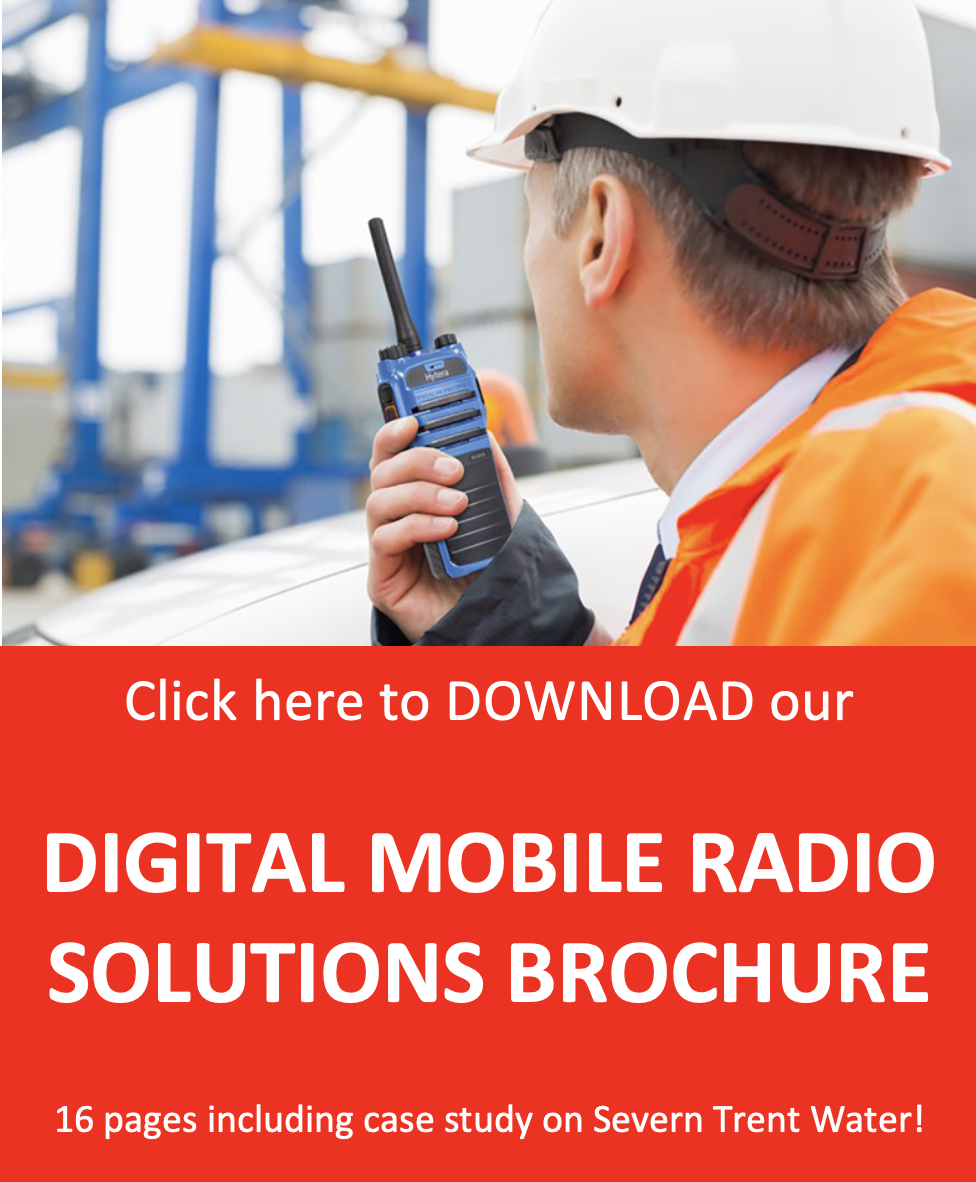 Man with hytera radio image with call to action to download brochure