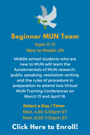 Click here to learn more about the Middle School Beginner MUN Team!
