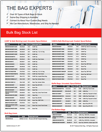 In-stock bulk bag list, FIBC list, FIBC bulk bag, National Bulk Bag