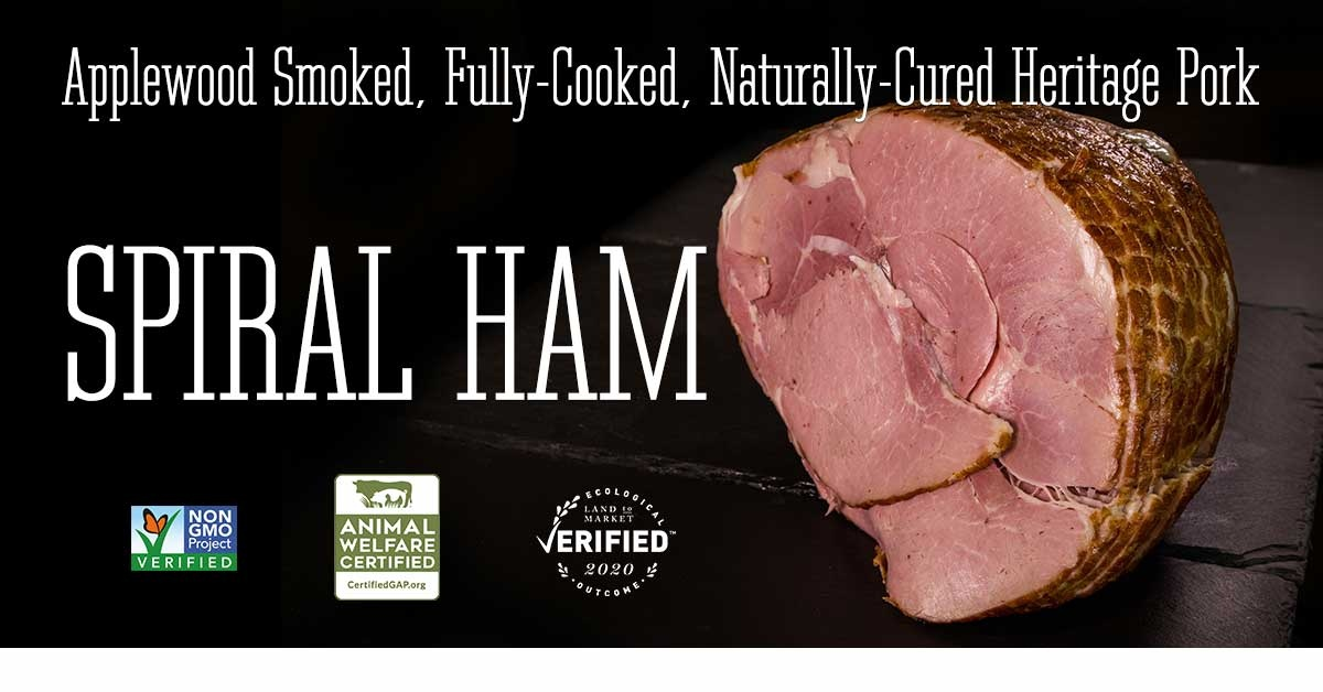 Applewood smoked, fully-cooked, naturally cured spiral ham