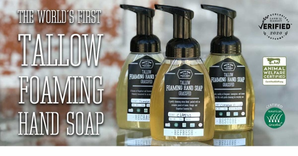 The world's first foaming tallow hand soap