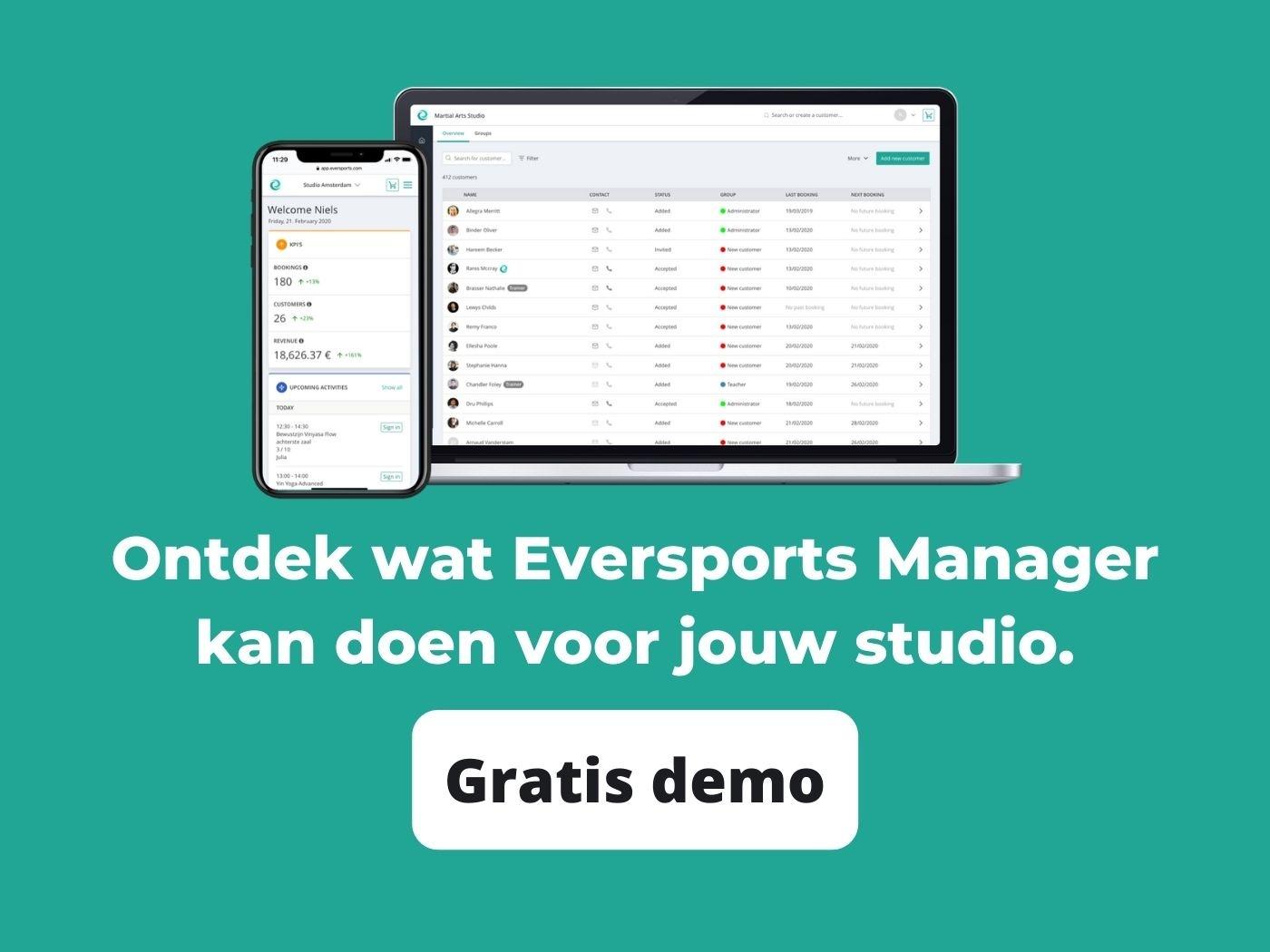 Ontdek wat Eversports Manager kan doen voor jouw studio tijdens een gratis online demo
