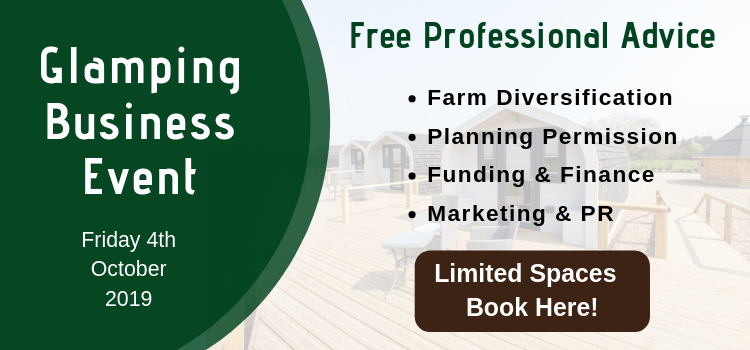 Glamping Business Event information for event call to action with book here button