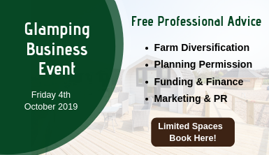 Glamping Business Event details with book here button